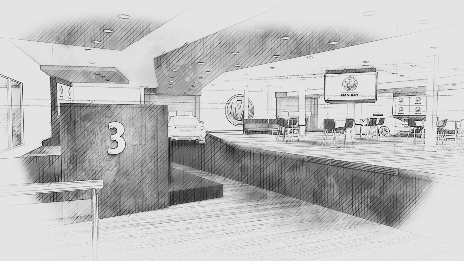 Concepts for Manheim Bruntingthorpe, created by Katapult guest experience agency