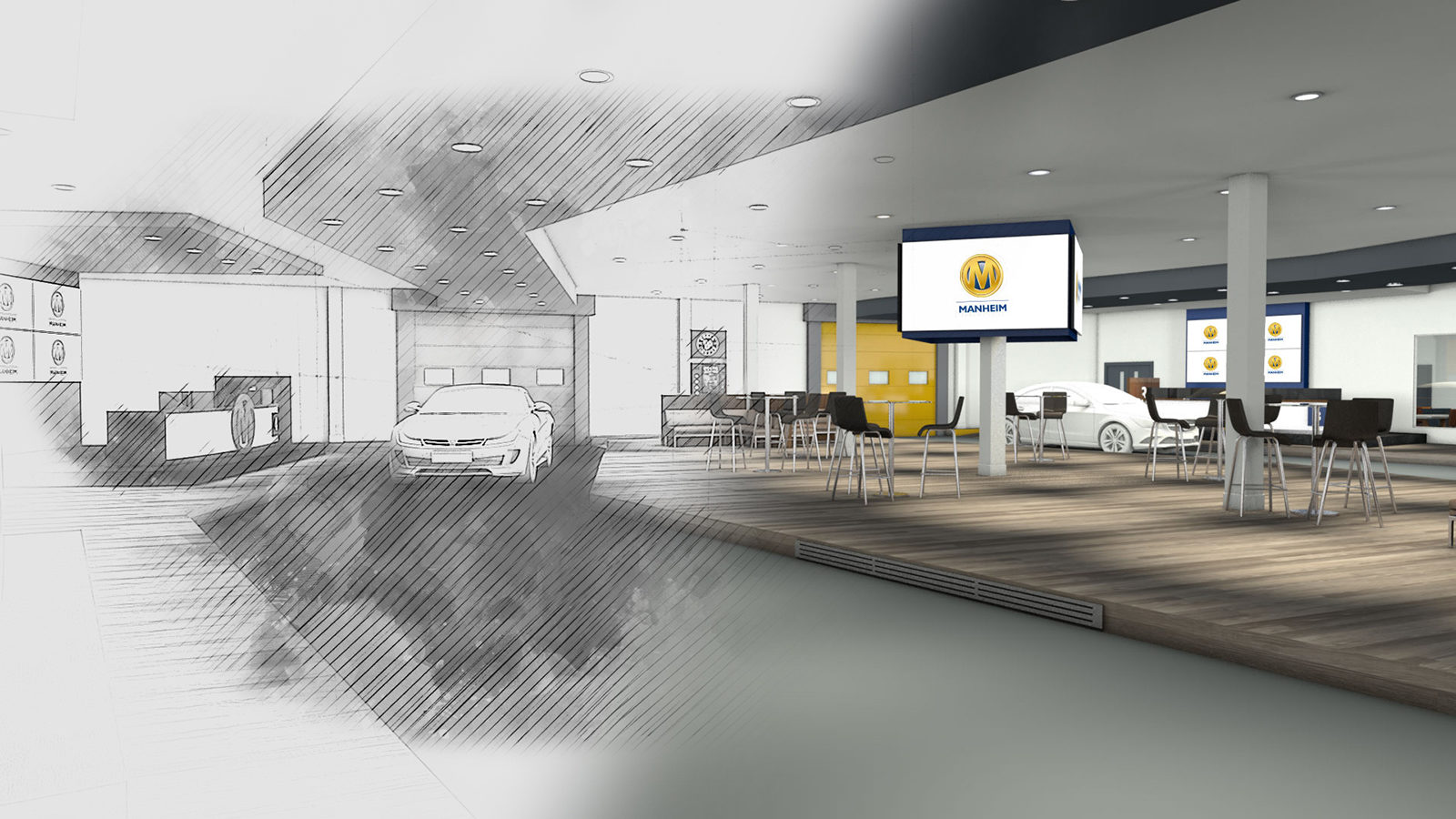 Manheim Bruntingthorpe guest experience designs, completed by Katapult