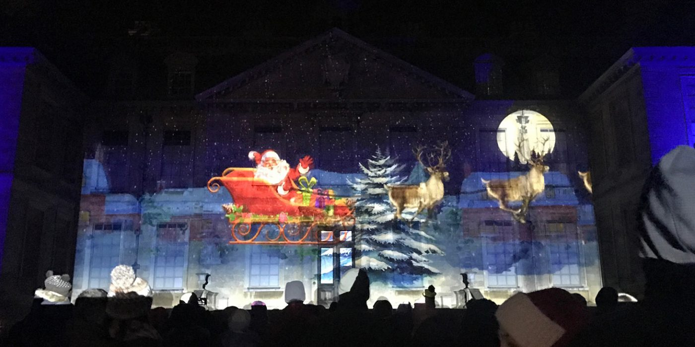 Christmas themed projection mapping for a National Trust property, executed by Katapult