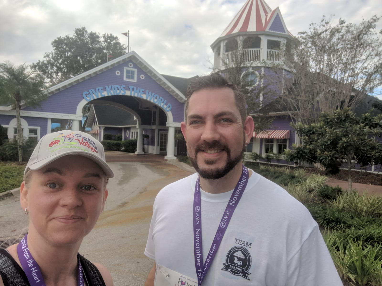 Kelly Herrick and Phil Higgins post IAAPA Footprints from the Heart 5K Run